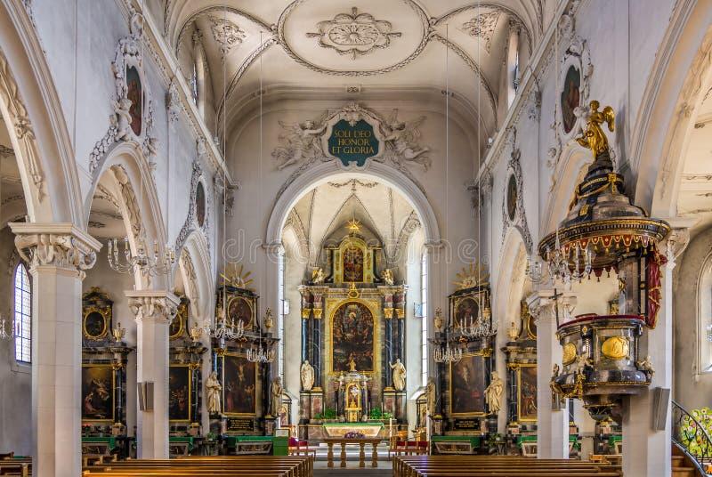 Wnętrze miasto kościół w Baden, Szwajcaria - obraz royalty free