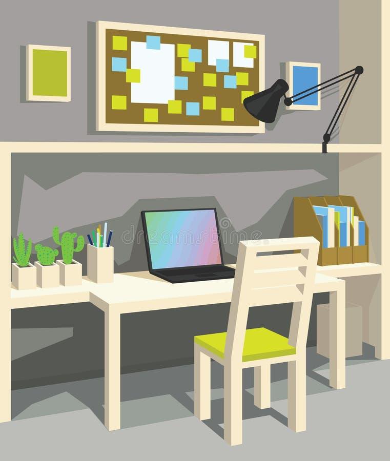 Wnętrze miejsce pracy w kreskówka stylu perspektywa Ministerstwo Spraw Wewnętrznych w Popielatym kolorze ilustracji