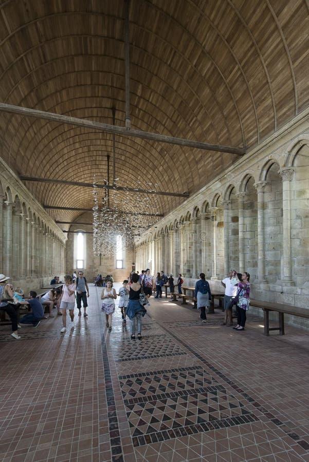 Wnętrze Mont saint michel opactwo, Francja obraz royalty free