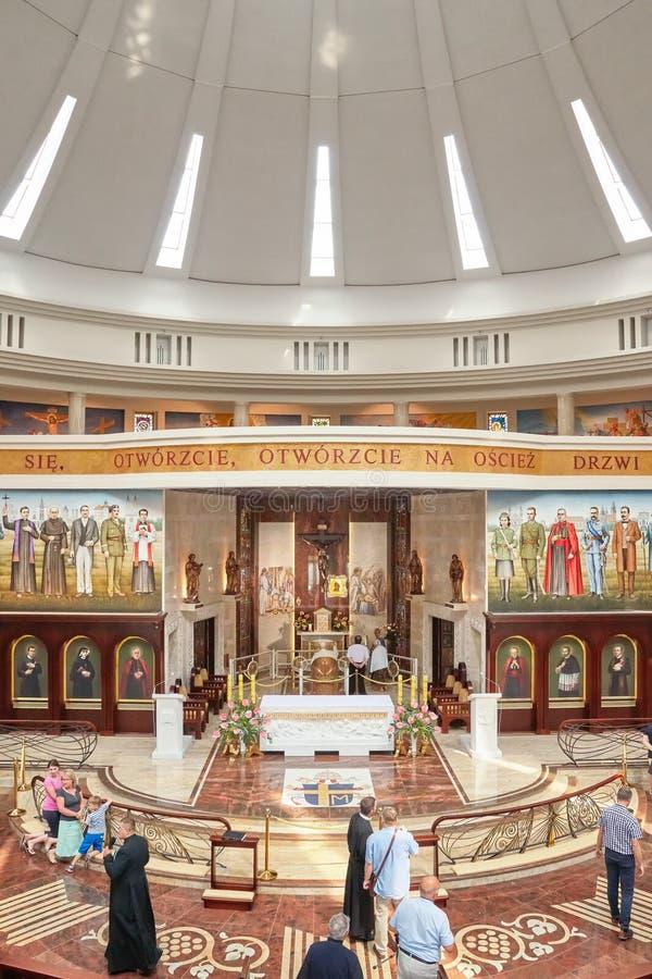 Wnętrze niedawno budująca świątynia Nasz dama gwiazda Nowy Evangelization John Paul II i St fotografia royalty free