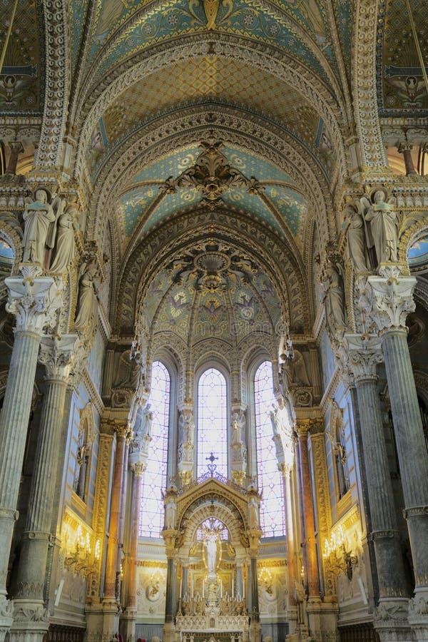 Wnętrze Notre Damae De Fourviere bazylika, Lion obraz royalty free