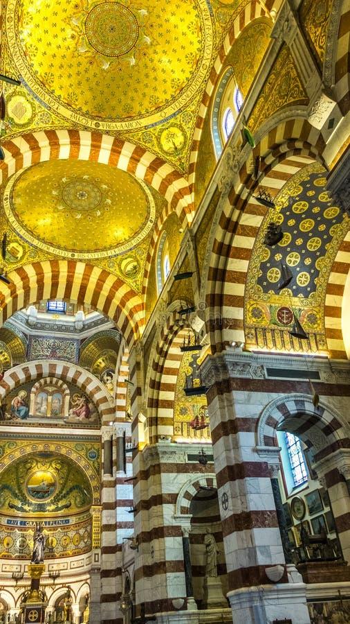 Wnętrze Notre-Dame de los angeles Garde, Marseille, Francja zdjęcie royalty free