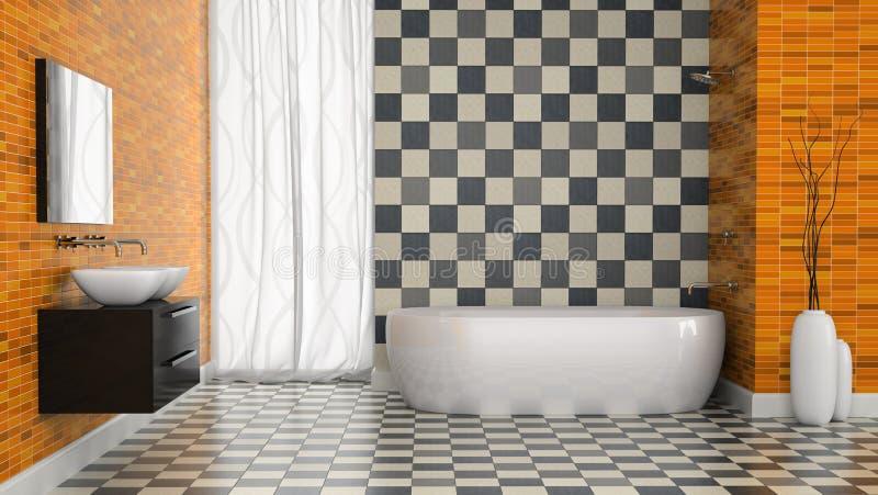 Wnętrze nowożytna łazienka z czarny i biały płytki ścianą royalty ilustracja
