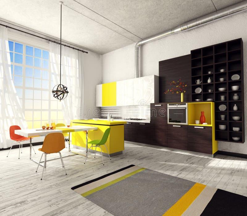 Wnętrze nowożytna kuchnia ilustracji