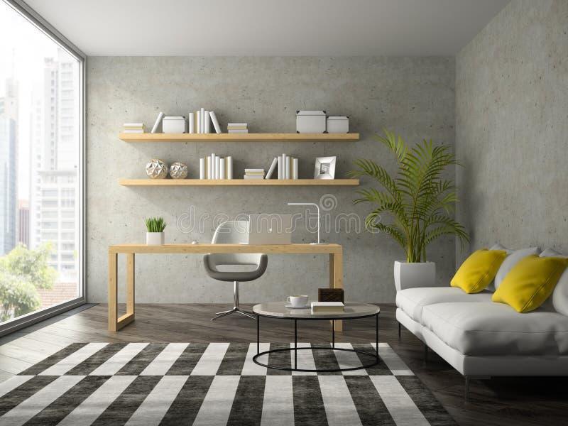 Wnętrze nowożytnego projekta biuro z białym kanapy 3D renderingiem obraz royalty free