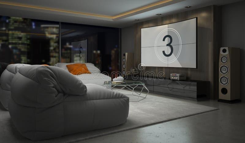 Wnętrze nowożytnego projekta izbowy 3D rendering obraz royalty free