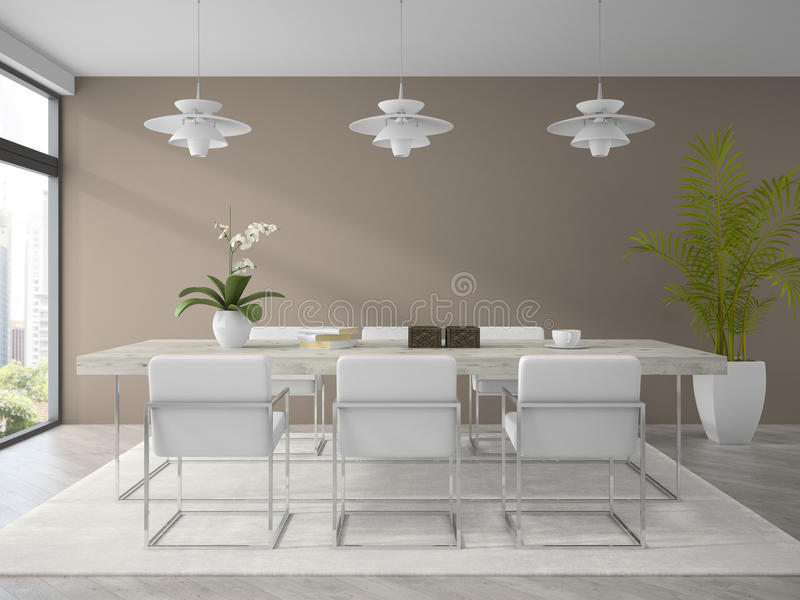 Wnętrze nowożytnego projekta jadalnia z palmowym 3D renderingiem ilustracji