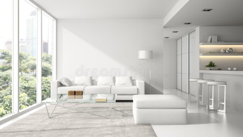 Wnętrze nowożytnego projekta loft w bielu ilustracji