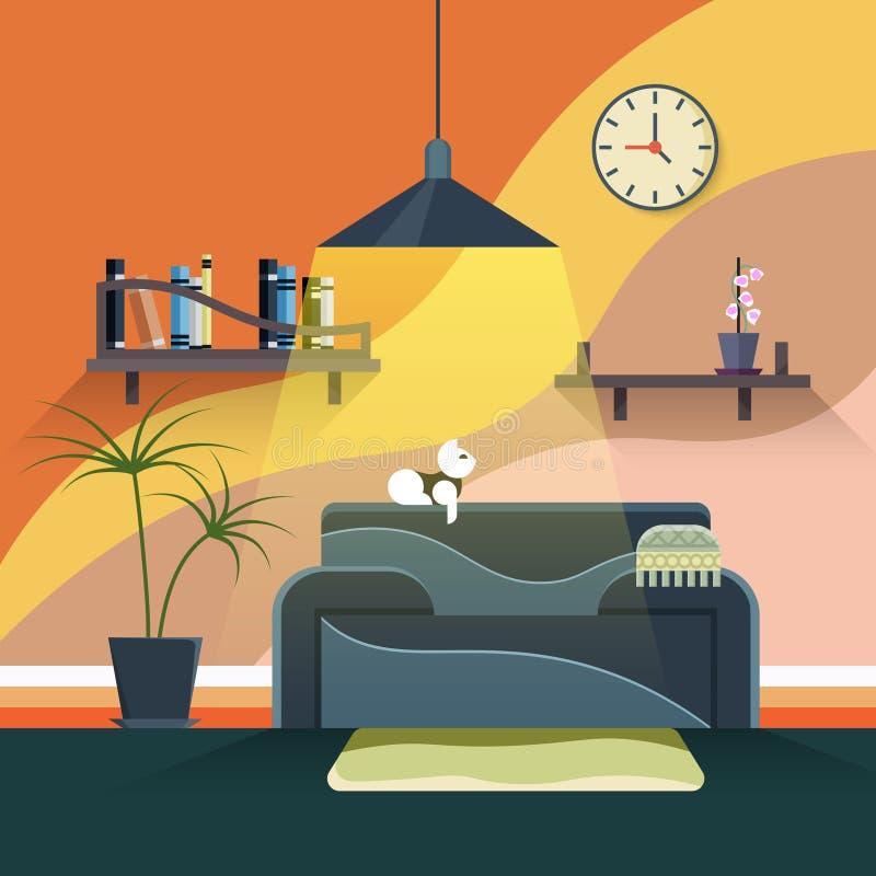 Wnętrze nowożytny żywy pokój w płaskim projekcie ilustracja wektor