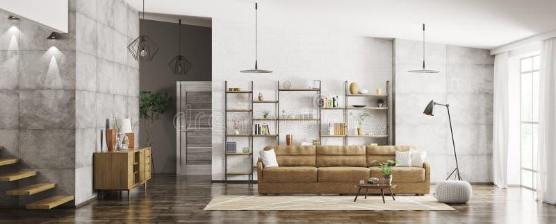 Wnętrze nowożytny mieszkanie panoramy 3d rendering ilustracja wektor