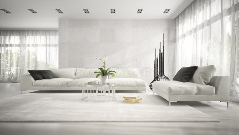 Wnętrze nowożytny pokój z białym leżanki 3D renderingiem ilustracji