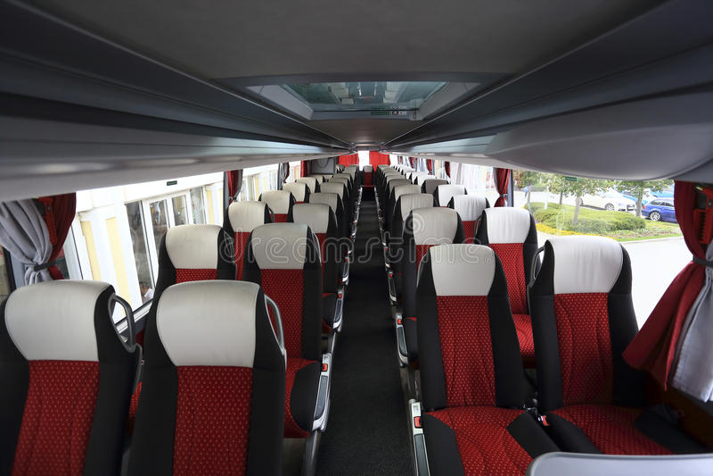 Wnętrze nowożytny pusty autobus fotografia royalty free
