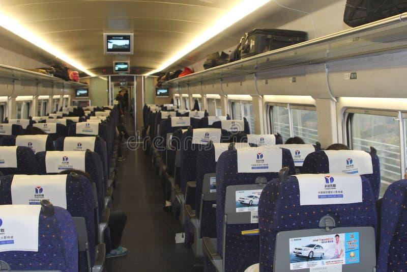 Wnętrze nowożytny szybkościowego poręcza pociąg, Chiny zdjęcie royalty free