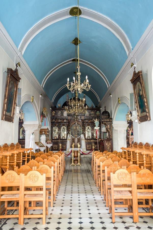Wnętrze ortodoksyjny grecki kościół Rethymno w Crete Grecja fotografia royalty free