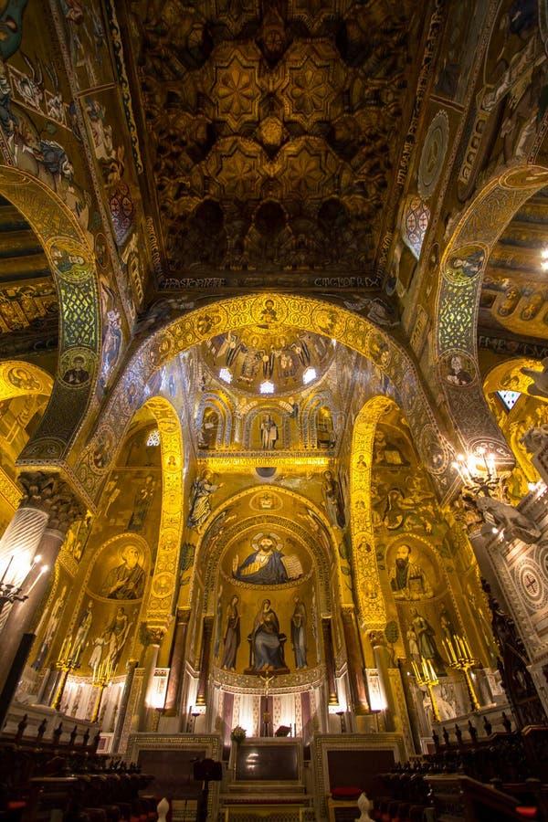 Wnętrze palatyn kaplica, Palermo, Włochy obrazy stock