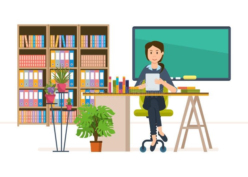 Wnętrze pokój dla nauczyciela Szkolny pracownik, klasowy nauczyciel workplace ilustracji