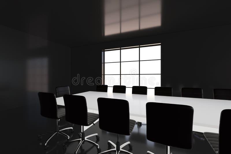 Wnętrze pokój konferencyjny w nowożytnym biurze świadczenia 3 d ilustracji