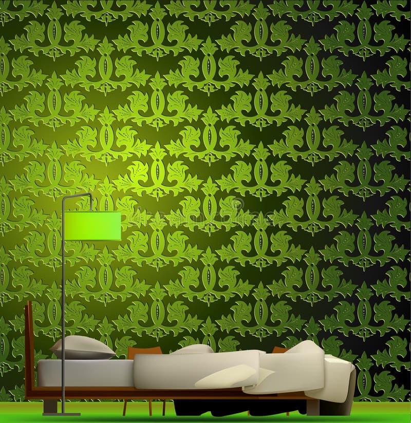 Wnętrze pokój w zieleń stylu wektor ilustracja wektor