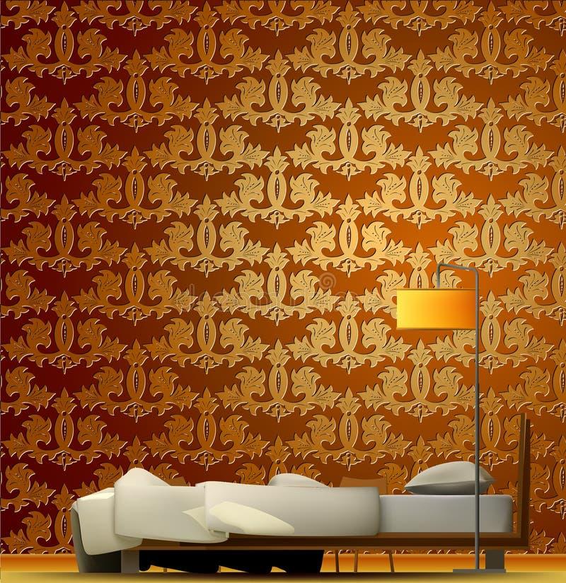 Wnętrze pokój z łóżkiem i złotą tapetą royalty ilustracja