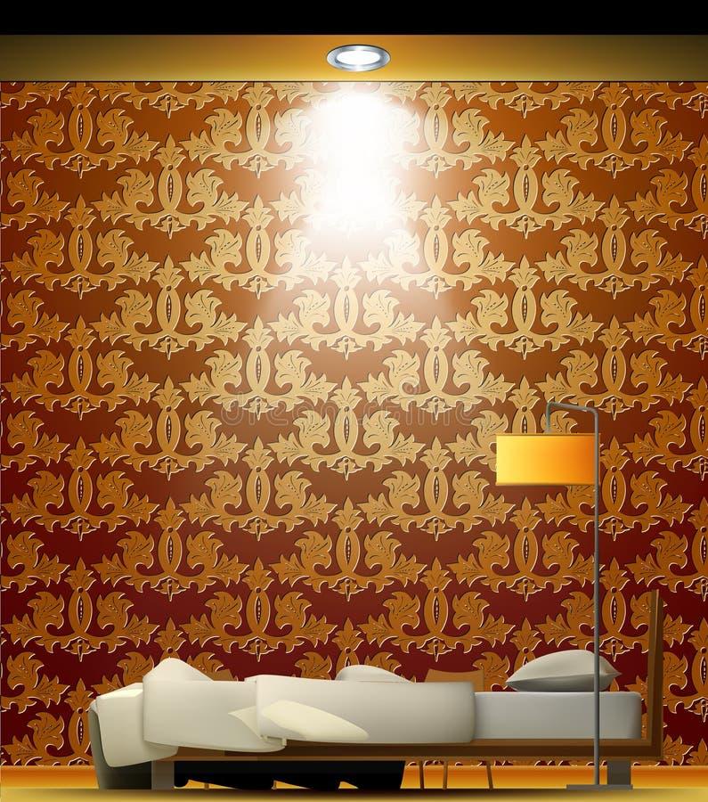 Wnętrze pokój z łóżkiem, złota tapeta ilustracji