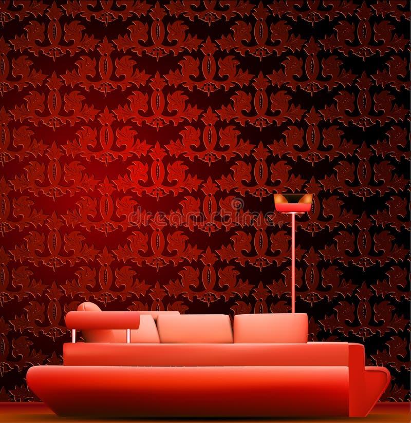 Wnętrze pokój z kanapą i czerwieni tapetą royalty ilustracja
