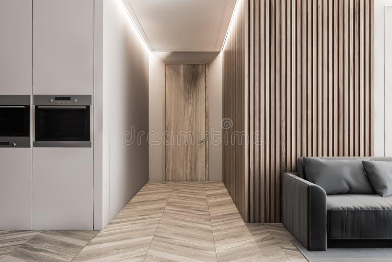 Wnętrze pomieszczenia mieszkalnego z narożnikiem kuchennym ilustracji