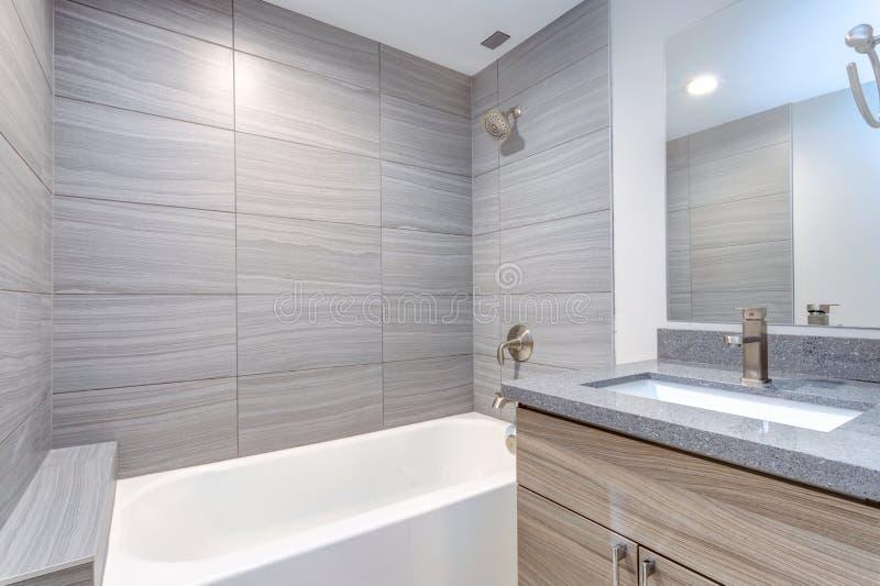 Wnętrze popielata nowożytna łazienka obraz stock