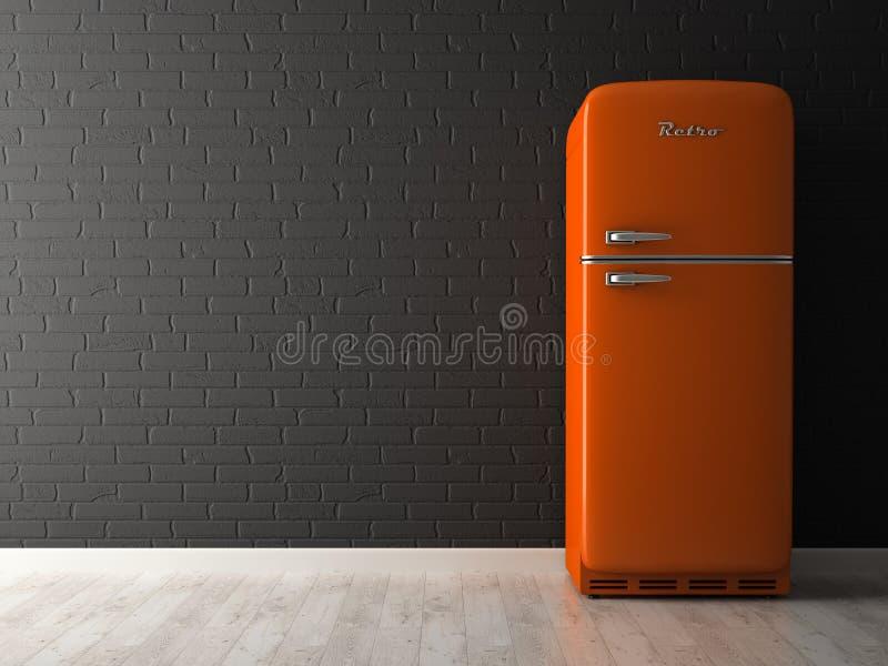 Wnętrze pusty pokój z fridge 3D renderingiem royalty ilustracja