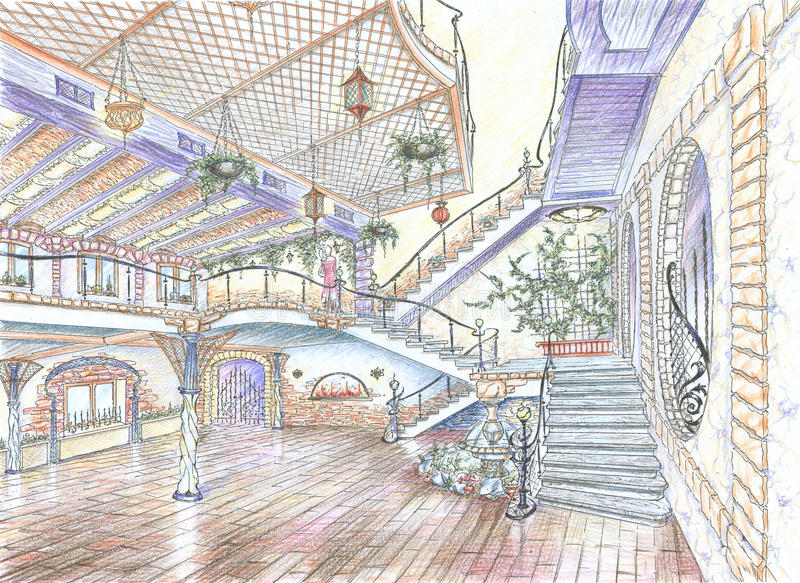 Wnętrze restauracyjna sala ilustracji
