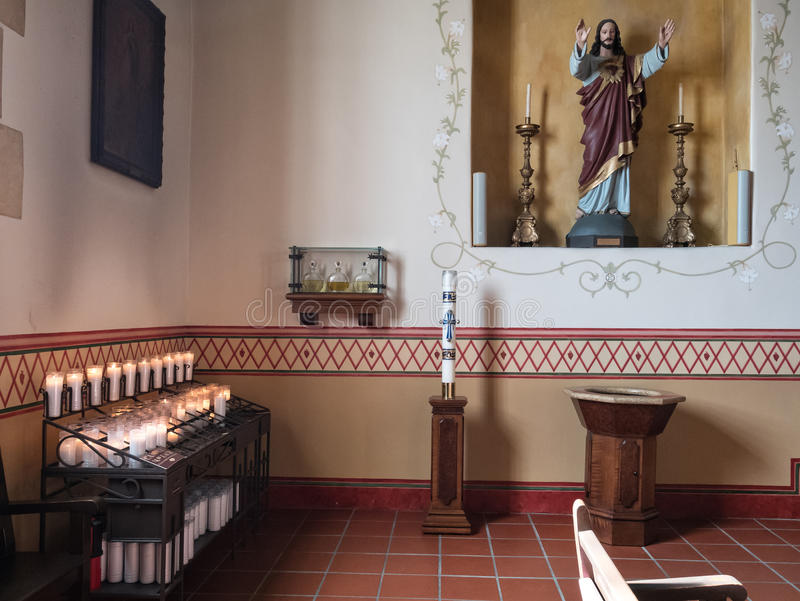 Wnętrze, San Carlos katedra, Monterey, Kalifornia obraz royalty free