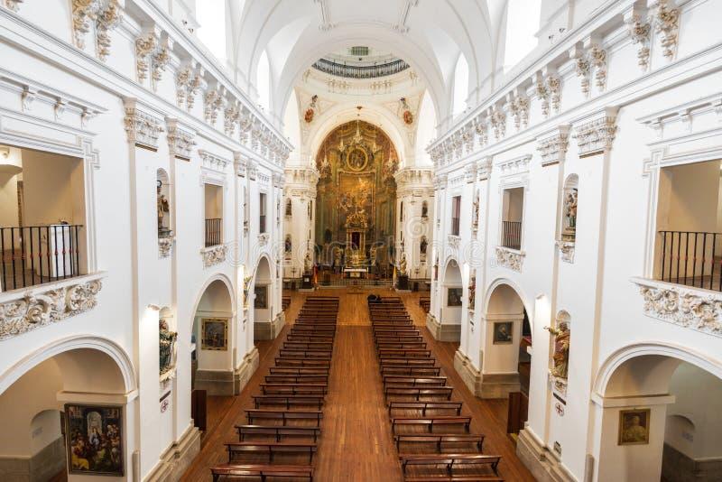 Wnętrze San Ildefonso kościół kościelny Iglesia De San Idelfonso lub jezuita, Toledo, Hiszpania zdjęcie royalty free