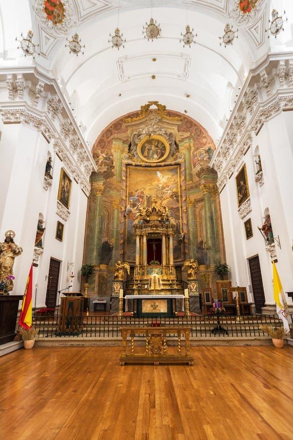 Wnętrze San Ildefonso kościół kościelny Iglesia De San Idelfonso lub jezuita, Toledo, Hiszpania obraz stock