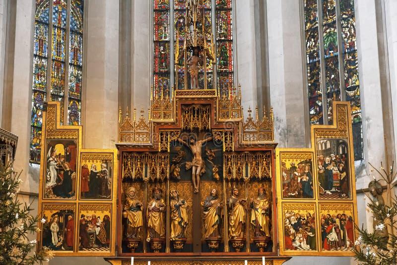 Wnętrze St James kościół w Rothenburg Ob dera Tauber ołtarz Bavaria, obraz royalty free