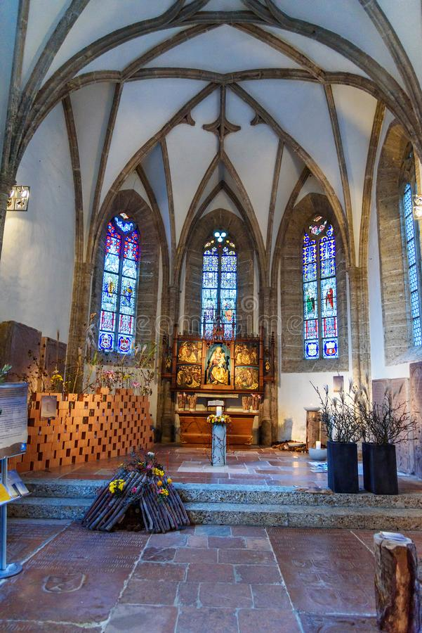 Wn?trze St Margaret Margarethenkapelle na St Peter cmentarzu w Salzburg lub kaplica Austria obrazy stock