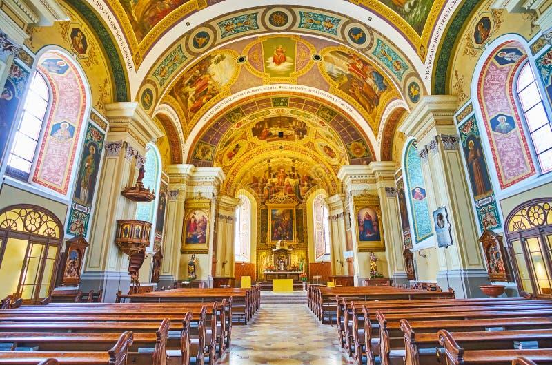 Wnętrze St Nicholas Farny kościół, Zły Ischl, Salzkammergut, Austria fotografia royalty free