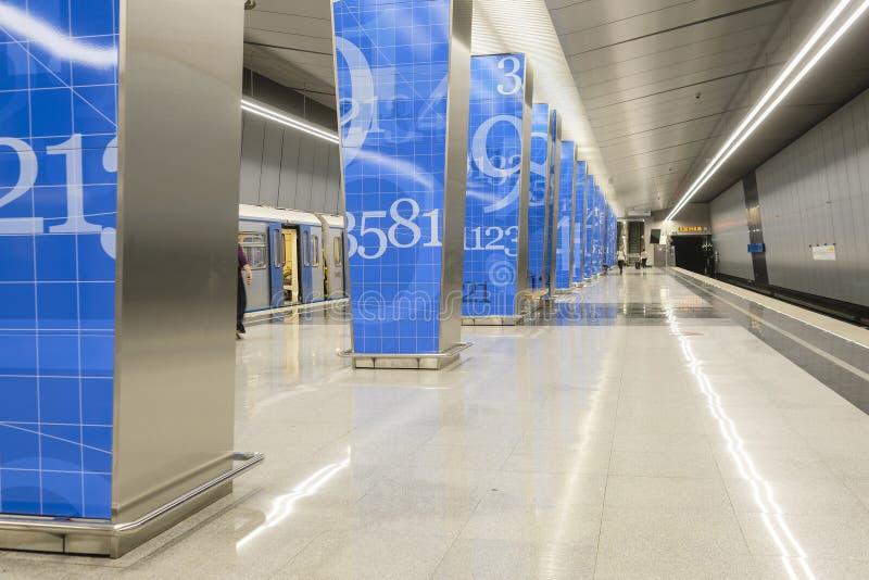 Wnętrze staci metru Lomonosovskiy perspektywa w Moskwa obrazy stock