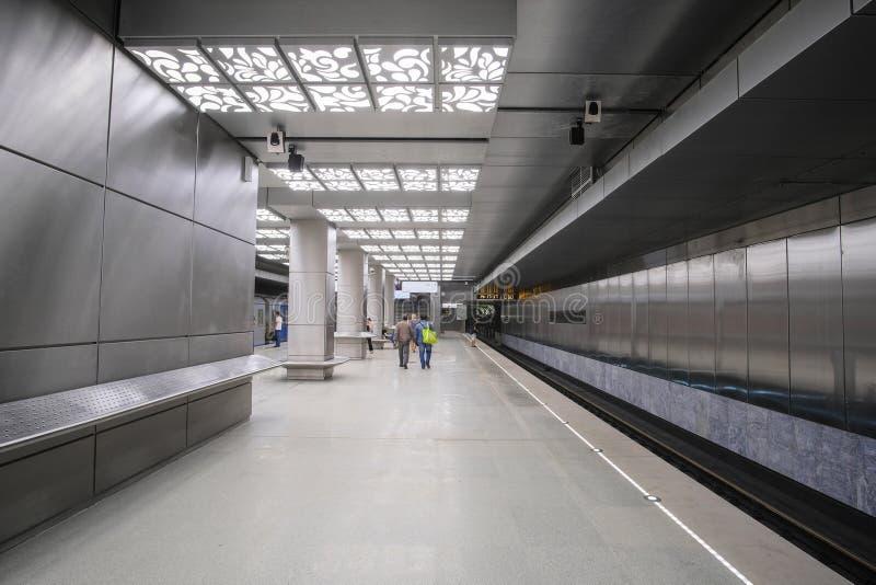 wnętrze stacja metru Novoperedelkino w Moskwa obraz stock
