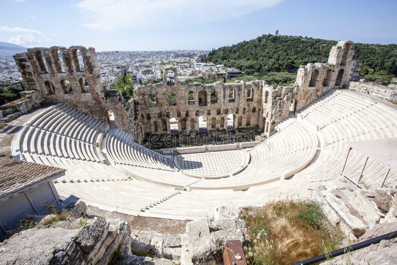 Wnętrze starożytnego grka teatr Odeon Herodes Atticus w Ateny, Grecja obrazy stock