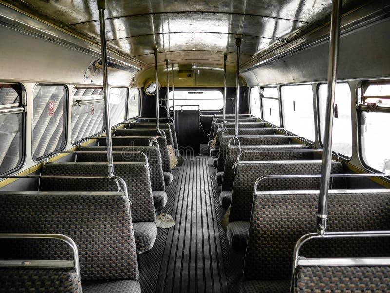 Wnętrze stary autobus, rocznik i retro tło, obraz royalty free