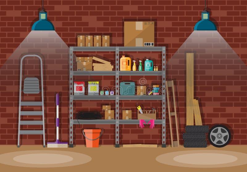Wnętrze storeroom royalty ilustracja