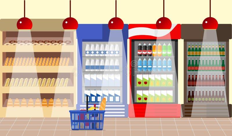 Wnętrze supermarket Supermarket z gablotami wystawowymi i półkami Produkty na półkach ilustracja wektor