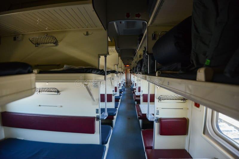 Wnętrze syberyjski pociąg ekspresowy, łączy Moskwa z Rosyjskim Daleki Wschód, kończy w Vladivostok obrazy stock