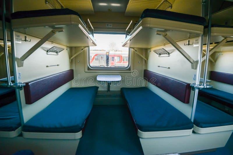 Wnętrze syberyjski pociąg ekspresowy, łączy Moskwa z Rosyjskim Daleki Wschód, kończy w Vladivostok fotografia stock
