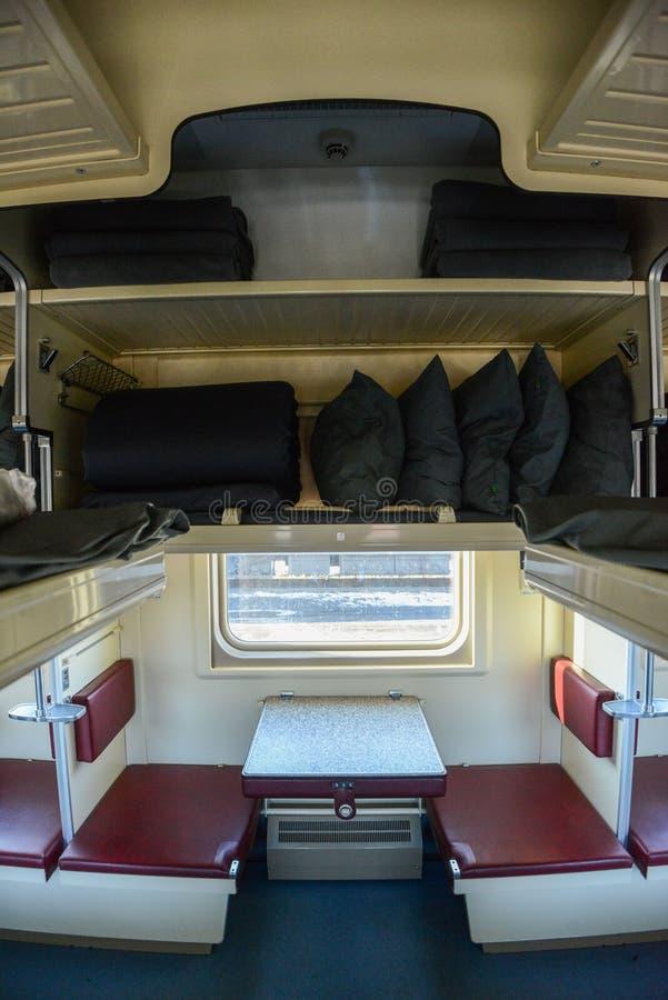 Wnętrze syberyjski pociąg ekspresowy, łączy Moskwa z Rosyjskim Daleki Wschód, kończy w Vladivostok zdjęcia royalty free
