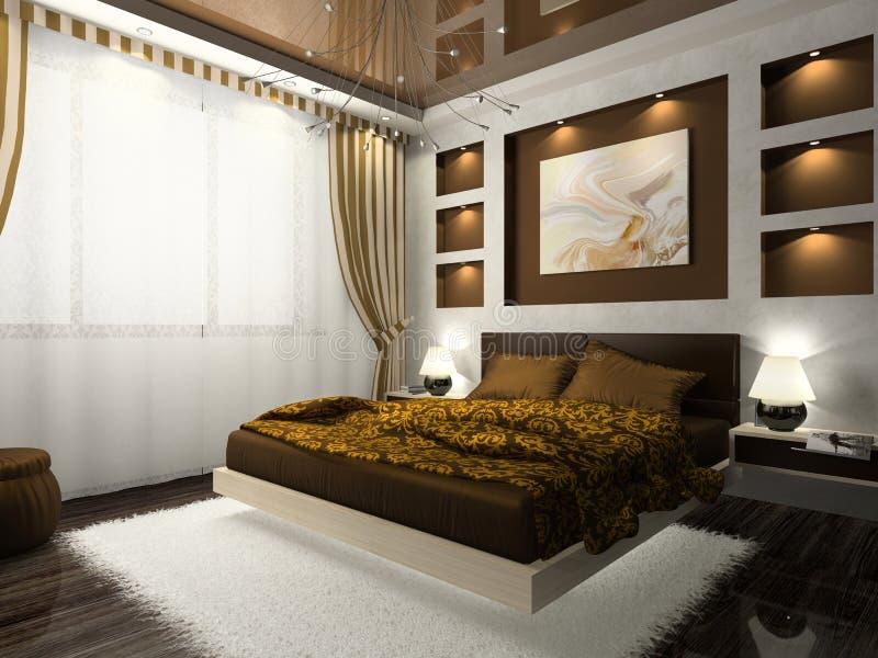 wnętrze sypialni royalty ilustracja