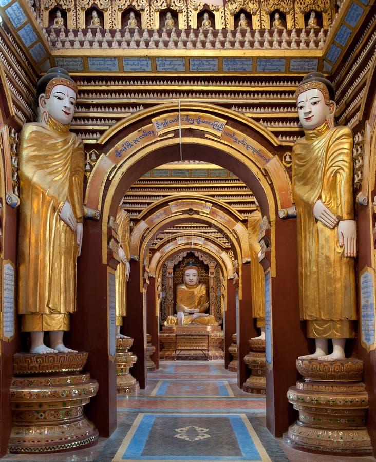 Wnętrze Thanbokde pagoda, Monywa, Myanmar obrazy royalty free