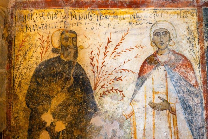 Wnętrze trójnawowy Bizantyjski Kościelny Panagia Ker w wiosce Kritsa, Crete, Grecja obraz stock
