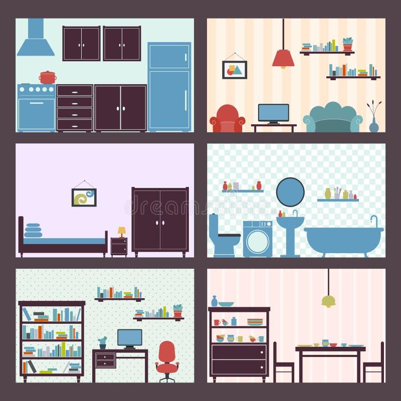Wnętrze ustawiający mieszkanie ilustracji
