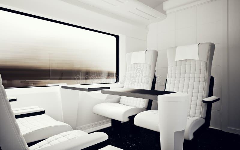Wnętrze Wśrodku Vip klasy Kabinowego Nowożytnego Szybkiego pociągu ekspresowego Nikt Biały Rzemiennego krzesła okno Wygodny Seat  royalty ilustracja