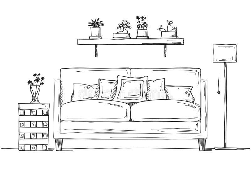 Wnętrze w nakreślenie stylu Kanapa, wezgłowie stół, podłogowa lampa ilustracji